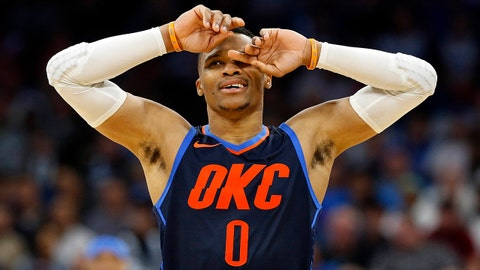 Nov 29, 2017; Orlando, FL, USA; Oklahoma City Thunder guard Russell Westbrook (0) reacts during the second half against the Orlando Magic at Amway Center. Mandatory Credit: Kim Klement-USA TODAY Sports