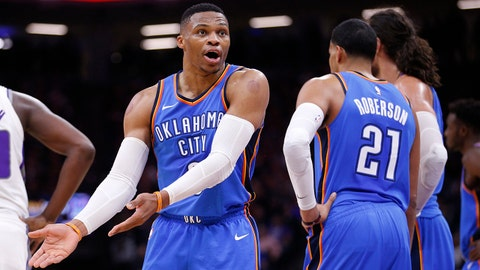 Nov 7, 2017; Sacramento, CA, USA; Oklahoma City Thunder guard Russell Westbrook (0) talks to a referee after a play against the Sacramento Kings in the third quarter at Golden 1 Center. Mandatory Credit: Cary Edmondson-USA TODAY Sports