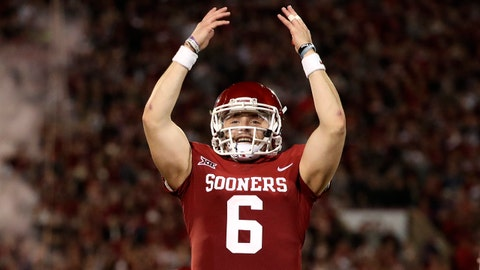 Nov 11, 2017; Norman, OK, USA; Oklahoma Sooners quarterback Baker Mayfield (6) reacts after a touchdown during the first half against the TCU Horned Frogs at Gaylord Family - Oklahoma Memorial Stadium. Mandatory Credit: Kevin Jairaj-USA TODAY Sports