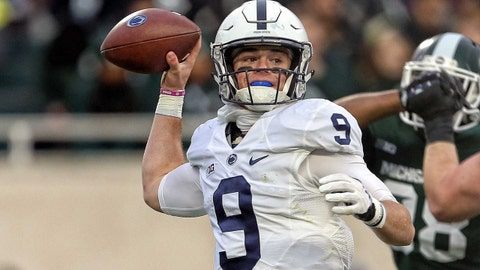 Nov 4, 2017; East Lansing, MI, USA; Penn State Nittany Lions quarterback Trace McSorley (9) looks to throw the ball during the second quarter of a game against the Michigan State Spartans at Spartan Stadium. Mandatory Credit: Mike Carter-USA TODAY Sports