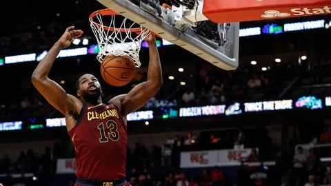 Oct 28, 2017; New Orleans, LA, USA; Cleveland Cavaliers center Tristan Thompson (13) dunks over New Orleans Pelicans forward Anthony Davis (23) during the first half of a game at the Smoothie King Center. Mandatory Credit: Derick E. Hingle-USA TODAY Sports