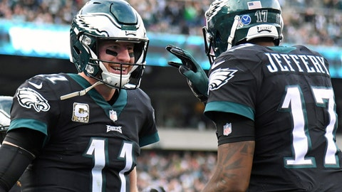 Nov 5, 2017; Philadelphia, PA, USA; Philadelphia Eagles quarterback Carson Wentz (11) celebrates his 4-yard touchdown pass to wide receiver Alshon Jeffery (17) during the third quarter against the Denver Broncos at Lincoln Financial Field. Mandatory Credit: Eric Hartline-USA TODAY Sports