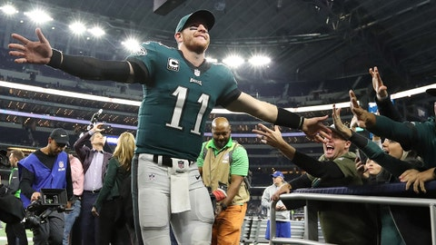 Nov 19, 2017; Arlington, TX, USA; Philadelphia Eagles quarterback Carson Wentz (11) celebrates a victory with fans after the game against the Dallas Cowboys at AT&T Stadium. Mandatory Credit: Matthew Emmons-USA TODAY Sports