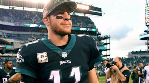 Nov 5, 2017; Philadelphia, PA, USA; Philadelphia Eagles quarterback Carson Wentz (11) on the field after win against the Denver Broncos at Lincoln Financial Field. Mandatory Credit: Eric Hartline-USA TODAY Sports