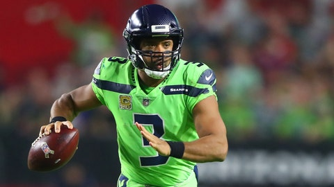 Nov 9, 2017; Glendale, AZ, USA; Seattle Seahawks quarterback Russell Wilson (3) against the Arizona Cardinals at University of Phoenix Stadium. Mandatory Credit: Mark J. Rebilas-USA TODAY Sports