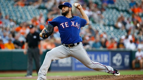 Texas Rangers starting pitcher Martin Perez throws to the Baltimore Orioles in the second inning of a baseball game in Baltimore, Wednesday, July 19, 2017. (AP Photo/Patrick Semansky)