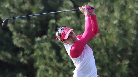 Lexi Thompson of the United States watches her shot on the second hole during the third round of the LPGA KEB HanaBank Championship at the Sky72 Golf Club in Incheon, South Korea, Saturday, Oct. 14, 2017. (AP Photo/Lee Jin-man)