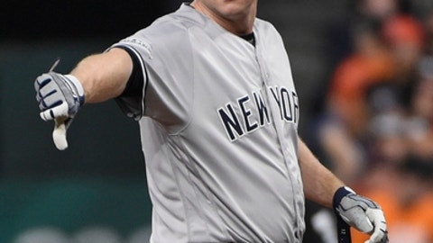 New York Yankees' Chase Headley reacts after a base hit during the third inning of Game 6 of baseball's American League Championship Series against the Houston Astros Friday, Oct. 20, 2017, in Houston. (AP Photo/Eric Christian Smith)