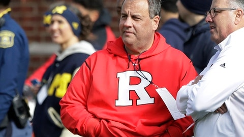 New Jersey Gov. Chris Christie watches from the sidelines during the first half of an NCAA college football game between Michigan and Rutgers, Saturday, Oct. 28,2017, in Ann Arbor, Mich. (AP Photo/Carlos Osorio)
