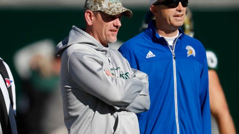 Colorado State head coach Mike Bobo, left, watches his team warm up with San Jose State head coach Brent Brennan before the first half of an NCAA college football game, Saturday, Nov. 18, 2017, in Fort Collins, Colo. (AP Photo/David Zalubowski)