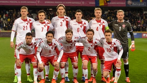 FILE - In this Sunday, March 26, 2017 filer, Denmark's national soccer team poses for a photograph prior to their World Cup Group E qualifying soccer match against Romania, at the Cluj Arena stadium in Cluj, Romania. (AP Photo/Andreea Alexandru, File)