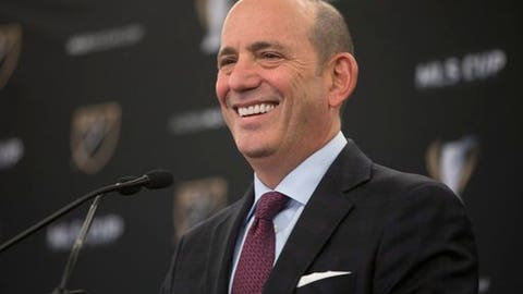 FILE - In this Dec. 9, 2016, file photo, MLS Commissioner Don Garber holds a state of the league news conference in Toronto.  Four cities are in the running to join Major League Soccer. MLS announced Wednesday, Nov. 29, 2017, that Cincinnati; Detroit; Nashville, Tennessee; and Sacramento, California, are finalists for two expansion clubs. Owners and officials representing the expansion markets will make presentations to MLS Commissioner Don Garber and the league's expansion committee on Dec. 6 in New York. (Chris Young/The Canadian Press via AP, File)