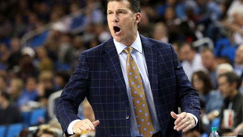 UCLA coach Steve Alford shouts to his team during the second half of an NCAA college basketball game against Cal State Bakersfield in Los Angeles Wednesday, Nov. 29, 2017. UCLA won 75-66. (AP Photo/Reed Saxon)