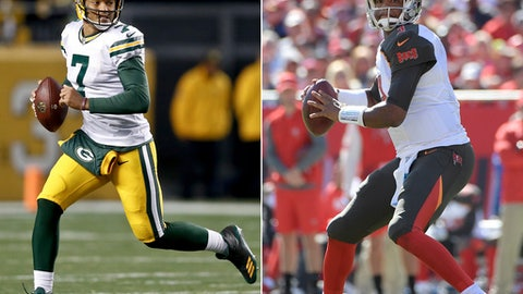 FILE - At left, in a Nov. 26, 2017, file photo, Green Bay Packers quarterback Brett Hundley (7) plays in an NFL football game against the Pittsburgh Steelers, in Pittsburgh. At right, in an Oct. 29, 2017, file photo, Tampa Bay Buccaneers quarterback Jameis Winston (3) sets up to throw a pass during the second half of an NFL football game against the Carolina Panthers, in Tampa, Fla. The Packers' best shot to return to the playoffs involves winning their last five games of the season, starting Sunday against the last-place Tampa Bay Buccaneers.  (AP Photo/File)