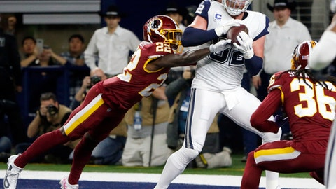 Dallas Cowboys tight end Jason Witten (82) catches a pass for a touchdown in front of Washington Redskins safety Deshazor Everett (22) and safety D.J. Swearinger (36) in the first half of an NFL football game, Thursday, Nov. 30, 2017, in Arlington, Texas. (AP Photo/Michael Ainsworth)