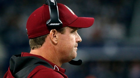 Washington Redskins head coach Jay Gruden watches play from the sideline in the first half of an NFL football game against the Dallas Cowboys on Thursday, Nov. 30, 2017, in Arlington, Texas. (AP Photo/Michael Ainsworth)