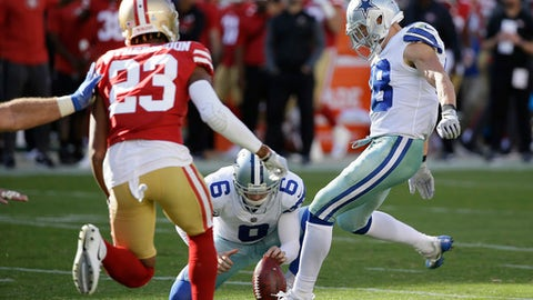 FILE - In this Oct. 22, 2017, file photo, Dallas Cowboys strong safety Jeff Heath (38) kicks a point after try during the second half of an NFL football game against the San Francisco 49ers, in Santa Clara, Calif. Cowboys safety Jeff Heath has been this season's most successful backup kicker. He made two of three extra points in Week 7 filling in for an injured Dan Bailey. (AP Photo/Eric Risberg, File)