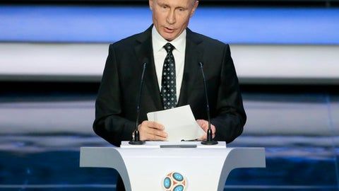 Russian President Vladimir Putin speaks at the 2018 soccer World Cup draw in the Kremlin in Moscow, Friday, Dec. 1, 2017. (AP Photo/Ivan Sekretarev)