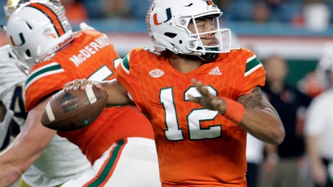 FILE - In this Nov. 11, 2017, file photo, Miami quarterback Malik Rosier (12) stands back to pass during the first half of an NCAA college football game against Notre Dame in Miami Gardens, Fla. Clemson's Kelly Bryant and Miami's Malik Rosier are longtime backups blossoming as starters. One of them will celebrate an ACC championship when the top-ranked Tigers faced No. 7 Hurricanes on Saturday night. (AP Photo/Lynne Sladky, File)