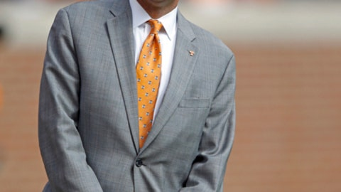 Tennessee athletic director, John Currie, is seen before an NCAA college football game Saturday, Oct. 14, 2017, in Knoxville, Tenn. (AP Photo/Wade Payne)