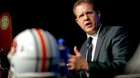Auburn head coach Gus Malzahn speaks during an NCAA college football news conference for the Southeastern Conference championship game against Georgia in Atlanta, Friday, Dec. 1, 2017. (AP Photo/David Goldman)