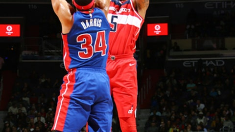WASHINGTON, DC -DECEMBER 1:  Markieff Morris #5 of the Washington Wizards shoots the ball against the Detroit Pistons on December 1, 2017 at Capital One Arena in Washington, DC. NOTE TO USER: User expressly acknowledges and agrees that, by downloading and or using this Photograph, user is consenting to the terms and conditions of the Getty Images License Agreement. Mandatory Copyright Notice: Copyright 2017 NBAE (Photo by Ned Dishman/NBAE via Getty Images)