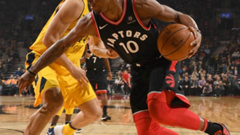 TORONTO, CANADA - DECEMBER 1: DeMar DeRozan #10 of the Toronto Raptors handles the ball against the Indiana Pacers on December 1, 2017 at the Air Canada Centre in Toronto, Ontario, Canada. NOTE TO USER: User expressly acknowledges and agrees that, by downloading and/or using this photograph, user is consenting to the terms and conditions of the Getty Images License Agreement. Mandatory Copyright Notice: Copyright 2017 NBAE (Photo by Ron Turenne/NBAE via Getty Images)