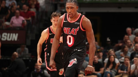 MIAMI, FL - DECEMBER 1:  Josh Richardson #0 of the Miami Heat reacts to a play during the game against the Charlotte Hornets on December 1, 2017 at American Airlines Arena in Miami, Florida. NOTE TO USER: User expressly acknowledges and agrees that, by downloading and or using this Photograph, user is consenting to the terms and conditions of the Getty Images License Agreement. Mandatory Copyright Notice: Copyright 2017 NBAE (Photo by Issac Baldizon/NBAE via Getty Images)