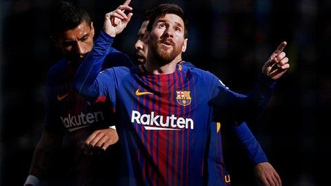 FC Barcelona's Lionel Messi celebrates after scoring during a Spanish La Liga soccer match between FC Barcelona and Celta Vigo at the Camp Nou stadium in Barcelona, Saturday, Dec. 2, 2017. (AP Photo/Manu Fernandez)