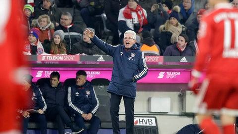 Bayern coach Jupp Heynckes gestures during the German Bundesliga soccer match between FC Bayern Munich and Hannover 96 in Munich, Germany, Saturday, Dec. 2, 2017. (AP Photo/Matthias Schrader)