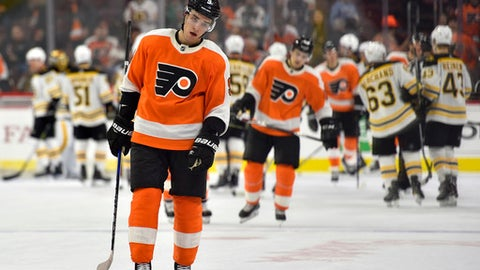 Philadelphia Flyers' Ivan Provorov skates off the ice following a loss to the Boston Bruins, Saturday, Dec. 2, 2017, in Philadelphia. The Bruins won 3-0. (AP Photo/Derik Hamilton)