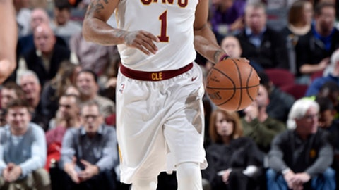 CLEVELAND, OH - NOVEMBER 7: Derrick Rose #1 of the Cleveland Cavaliers handles the ball against the Milwaukee Bucks on Novmber 7, 2017 at Quicken Loans Arena in Cleveland, Ohio. NOTE TO USER: User expressly acknowledges and agrees that, by downloading and/or using this Photograph, user is consenting to the terms and conditions of the Getty Images License Agreement. Mandatory Copyright Notice: Copyright 2017 NBAE  (Photo by David Liam Kyle/NBAE via Getty Images)