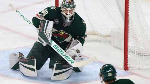 Minnesota Wild goalie Devan Dubnyk (40) gets ready to block the puck during the first period of an NHL hockey game against the St. Louis Blues, Saturday, Dec. 2, 2017, in St. Paul, Minn. (AP Photo/Stacy Bengs)