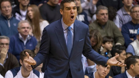 Villanova coach Jay Wright reacts during the first half of the team's NCAA college basketball game against Saint Joseph's, Saturday, Dec. 2, 2017, in Philadelphia. Villanova won 94-53. (AP Photo/Chris Szagola)