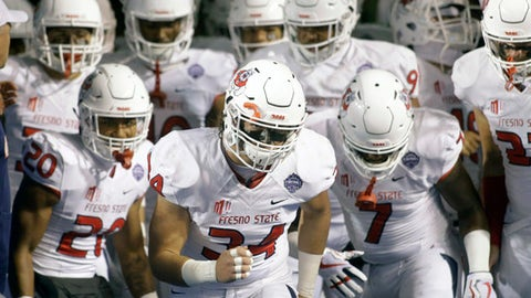 Fresno State linebacker George Helmuth (34) leads the team onto the field during the first half of an NCAA college football game against Boise State for the Mountain West championship in Boise, Idaho, Saturday, Dec. 2, 2017. (AP Photo/Otto Kitsinger)