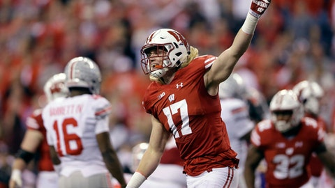 Wisconsin linebacker Andrew Van Ginkel reacts after recovering a fumble during the first half of the Big Ten championship NCAA college football game against Ohio State, Saturday, Dec. 2, 2017, in Indianapolis. (AP Photo/AJ Mast)