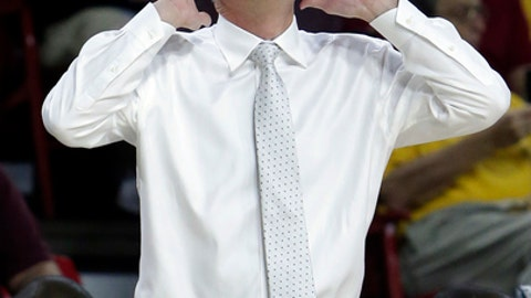 Arizona State head coach Bobby Hurley reacts to a foul call in the first half during an NCAA college basketball game against San Francisco, Saturday, Dec 2, 2017, in Tempe, Ariz. (AP Photo/Rick Scuteri)
