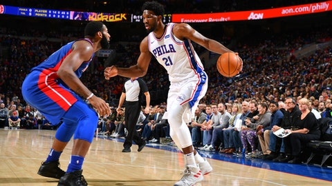 PHILADELPHIA, PA - DECEMBER 2: Joel Embiid #21 of the Philadelphia 76ers handles the ball against the Detroit Pistons on December 2, 2017 at Wells Fargo Center in Philadelphia, Pennsylvania. NOTE TO USER: User expressly acknowledges and agrees that, by downloading and or using this photograph, User is consenting to the terms and conditions of the Getty Images License Agreement. Mandatory Copyright Notice: Copyright 2017 NBAE (Photo by Jesse D. Garrabrant/NBAE via Getty Images)