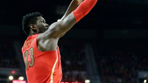 Arizona's Deandre Ayton shoots during the first half of an NCAA college basketball game against UNLV on Saturday, Dec. 2, 2017, in Las Vegas. (AP Photo/Isaac Brekken)