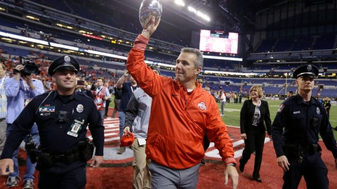 Ohio State coach Urban Meyer holds the trophy following the team's Big Ten championship NCAA college football game against Wisconsin, early Sunday, Dec. 3, 2017, in Indianapolis. Ohio State won 27-21. (AP Photo/Michael Conroy)