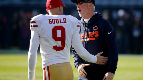 San Francisco 49ers kicker Robbie Gould (9) talks to Chicago Bears head coach John Fox before an NFL football game, Sunday, Dec. 3, 2017, in Chicago. (AP Photo/Charles Rex Arbogast)