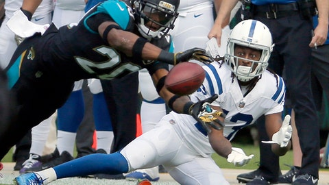 Jacksonville Jaguars cornerback Jalen Ramsey, left, breaks up a pass intended for Indianapolis Colts wide receiver T.Y. Hilton, right, during the first half of an NFL football game, Sunday, Dec. 3, 2017, in Jacksonville, Fla. (AP Photo/Stephen B. Morton)