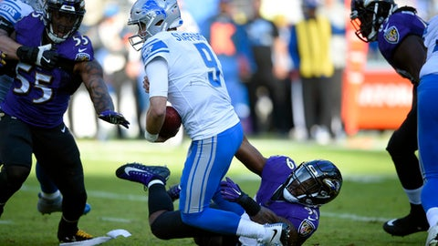 Detroit Lions quarterback Matthew Stafford (9) is sacked by Baltimore Ravens outside linebacker Matt Judon in the first half of an NFL football game, Sunday, Dec. 3, 2017, in Baltimore. (AP Photo/Nick Wass)