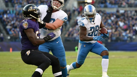 Detroit Lions running back Tion Green (38) rushes the ball in the second half of an NFL football game against the Baltimore Ravens, Sunday, Dec. 3, 2017, in Baltimore. (AP Photo/Gail Burton)