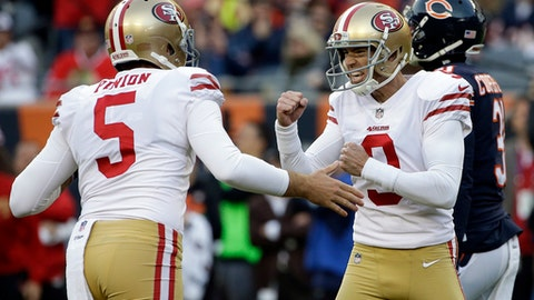 San Francisco 49ers kicker Robbie Gould (9) celebrates with punter Bradley Pinion (5) after kicking a game winning field goal during the second half of an NFL football game against the Chicago Bears, Sunday, Dec. 3, 2017, in Chicago. The 49ers won 15-14. (AP Photo/Nam Y. Huh)