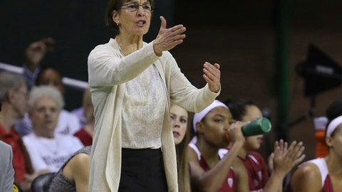 Stanford coach Tara VanDerveer gestures to her team during the second half of an NCAA college basketball game against Baylor, Sunday, Dec. 3, 2017, in Waco, Texas. (Rod Aydelotte/Waco Tribune Herald, via AP)