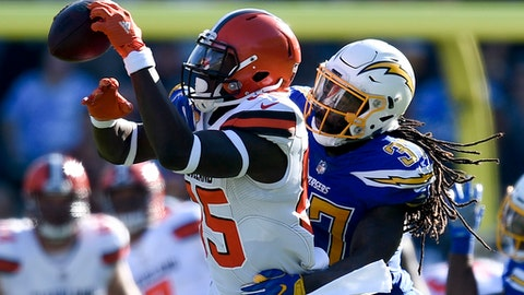 Los Angeles Chargers strong safety Jahleel Addae, right, breaks up a pass intended for Cleveland Browns tight end David Njoku during the first half of an NFL football game Sunday, Dec. 3, 2017, in Carson, Calif. (AP Photo/Kelvin Kuo)