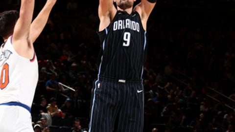 NEW YORK, NY - DECEMBER 3: Nikola Vucevic #9 of the Orlando Magic shoots the ball during the game against the New York Knicks on December 3, 2017 at Madison Square Garden in New York, New York. NOTE TO USER: User expressly acknowledges and agrees that, by downloading and or using this Photograph, user is consenting to the terms and conditions of the Getty Images License Agreement. Mandatory Copyright Notice: Copyright 2017 NBAE (Photo by Nathaniel S. Butler/NBAE via Getty Images)