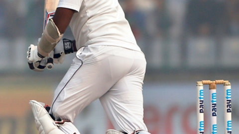 Sri Lanka's Angelo Mathews watches his shot during the third day of their third test cricket match against India in New Delhi, India, Monday, Dec. 4, 2017. (AP Photo/Altaf Qadri)