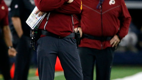 "FILE - In this Nov. 30, 2017, file photo, Washington Redskins head coach Jay Gruden watches play from the sideline in the second half of an NFL football game against the Dallas Cowboys, in Arlington, Texas. ""Without a doubt, everybody's disappointed. There's no question,"" coach Jay Gruden said Monday, Dec. 4, 2017. ""You know, we didn't play very well against Dallas. That's disappointing. ... We have the fourth quarter of our season left, and I have a bunch of guys out here that are going to compete and they're going to play hard, no matter what the situation is.(AP Photo/Michael Ainsworth, File)"
